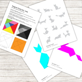 Tangram Puzzle - with 12 cat pattern silhouettes - printable PDF