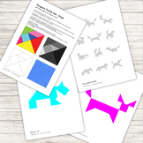 Tangram Puzzle - with 12 dog pattern silhouettes - printable PDF