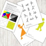 Tangram Puzzle - with 12 people silhouette patterns - printable PDF