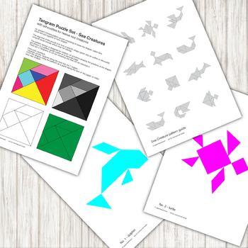 Tangram Puzzle - with 12 sea creature silhouettes - printable PDF