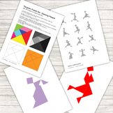 Tangram Puzzle - with 12 silhouettes of dancers - printable PDF