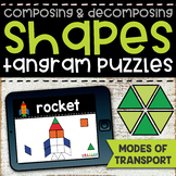 Tangram Shape Puzzles | Modes of Transportation Boom Cards | Composing Shapes