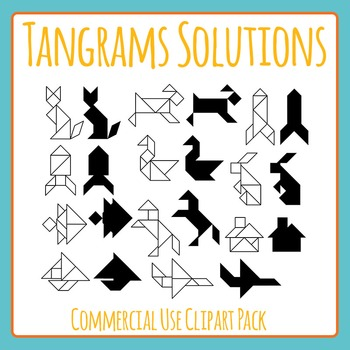 Tangram Solutions Clip Art Set for Commercial Use