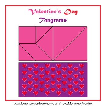 Tangram - Valentine's Day - Pink Hearts + Multicolor Puzzle Pieces
