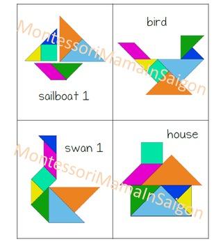 Tangram set with design cards