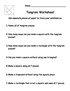 Tangram Worksheet | Teachers Pay Teachers