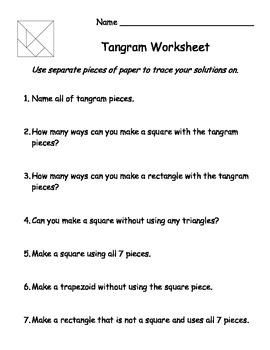 Tangram worksheet practice