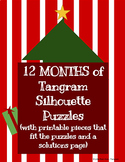 Tangrams SILHOUETTE Printables- 12 MONTHS of Puzzles, Color and B&W