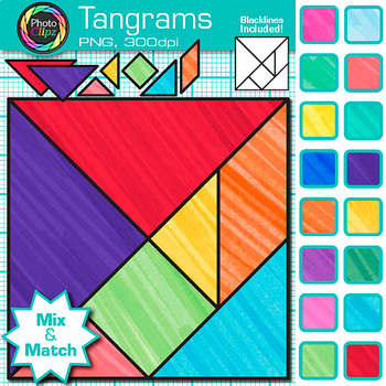 Tangrams Clip Art {Brain Teasers, Geometry Games, Logic Puzzles, Math Graphics}