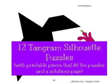 Tangrams Printable Peices and Silhouette Puzzle Cards