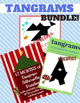 Tangrams Printables BUNDLE: Tangram Silhouette Puzzles Pack