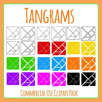 Tangrams / Tangram Shapes in Rainbow Colors Clip Art for Commercial Use