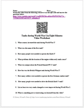 Tanks during World War I in Eight Minutes Video Worksheet