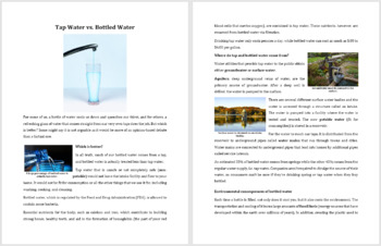 Tap vs Bottled Water - Science Reading Article - Grade 8 and Up