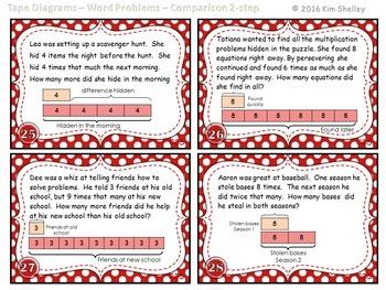 Tape Diagram Multiplication 2 Step Comparison - Set 6