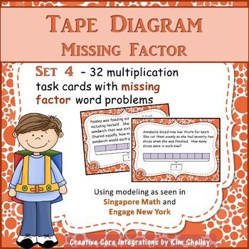 Tape Diagram Multiplication MISSING FACTOR Task Cards