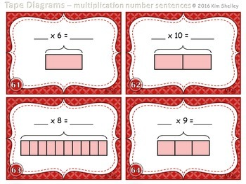 Tape Diagram Multiplication Number Sentence - Set 5