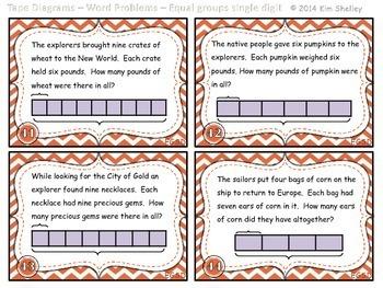 Tape Diagram Multiplication WORD PROBLEM Task Cards