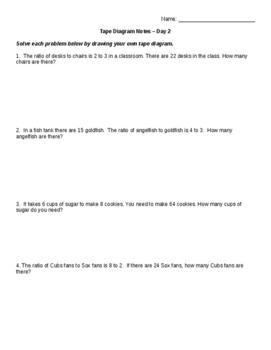 Tape Diagram Notes, Activity, Homework