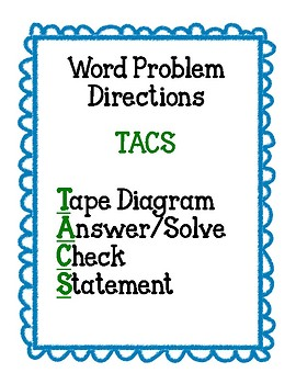 Tape Diagram Workmat and Directions
