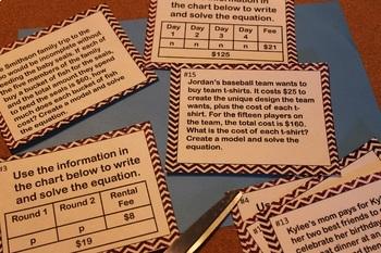 Tape Diagrams Task Cards- Printable & Digital Resource