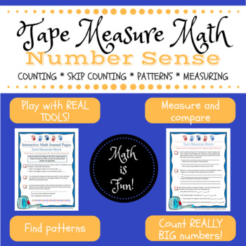 Tape Measure Math -- number sense, counting, skip counting, patterns, measuring