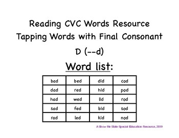 Tapping CVC Words: Final Consonant D Words