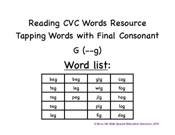 Tapping CVC Words: Final Consonant G Words