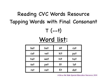 Tapping CVC Words: Final Consonant T Words