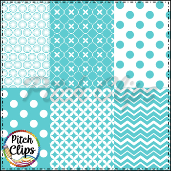 Tara Digital Papers - Turquoise Digital Papers - 18 styles