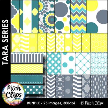 Tara Pack - Clipart (Clip Art) 60 Papers & 23 Ribbons- 4 coordinating colors!