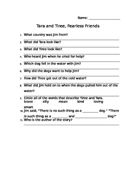 Tara and Tiree, Fearless Friends Comprehension Sheet