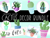 Watercolor Cactus Classroom Decor Bundle and Cactus Clipart