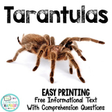 Tarantulas Informational Text: Main Idea, Comprehension Questions, Facts