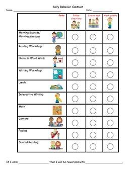 Tara's Personalized Behavior Chart