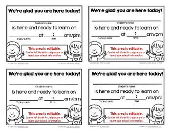 Tardy Slips - Semi-Editable and Child Friendly