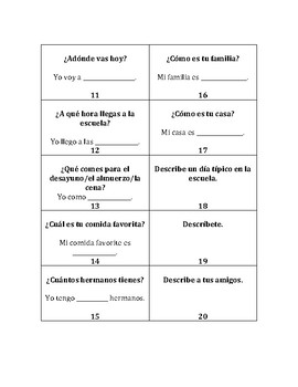 Basic Spanish Speaking / Conversation Cards