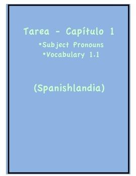 Tarea - Exprésate 1 Capítulo 1 - Subj. Pronouns, Vocab. 1.