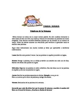 Tarea Diaria / Palabras de la Semana