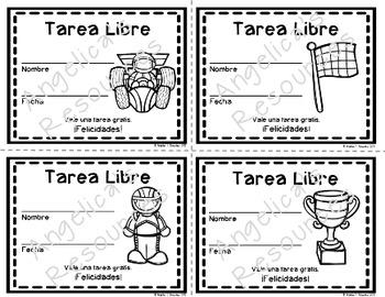 Tarea Libre: Homework Pass in Spanish (Race Car Theme)