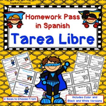 Tarea Libre: Homework Pass in Spanish (Superhero Theme)