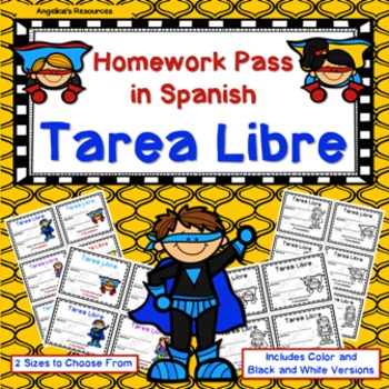 Tarea Libre: Homework Pass in Spanish (Superhero Theme)