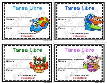 Tarea Libre: Homework Pass in Spanish (Owl Theme)