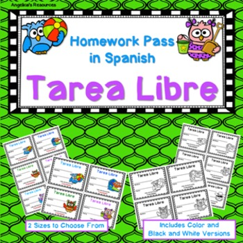 Tarea Libre: Homework Pass in Spanish (Owl Theme)