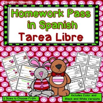 Tarea Libre: Homework Pass in Spanish Valentine's Day (Dia de San Valentin)