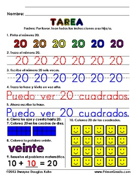 Tarea: Numeros 11-20 (Homew... by Dwayne Kohn | Teachers Pay Teachers