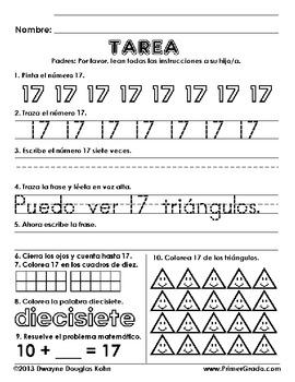 tarea numeros 11 20 homework numbers 11 20 in spanish by dwayne kohn. Black Bedroom Furniture Sets. Home Design Ideas