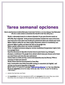 Tarea Semanal- Weekly Homework For Spanish 1