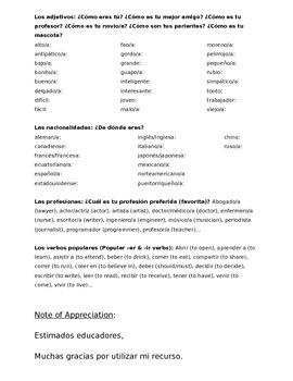 Homework Sp1 - Unit 3 Vocabulary: Three Column List for Family Words