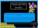 April Homework for Kindergarten/Tarea de Abril para Kinder